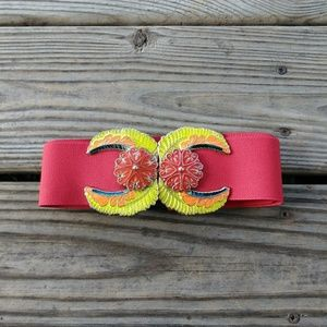 Vintage Red Elastic Belt